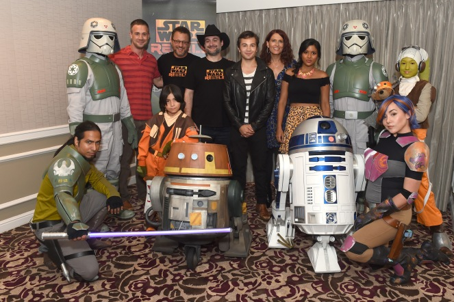 KANAN, AT-DP PILOT, FREDDIE PRINZE JR., EZRA, STEVE BLUM, CHOPPER, DAVE FILONI (CREATOR AND EXECUTIVE PRODUCER), TAYLOR GRAY, VANESSA MARSHALL, TIYA SIRCAR, R2-D2, AT-DP PILOT, SABINE, HERA